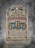 Ancient Egyptian stele dedicated to Re-Harakhty by Irtiertjay,  Late Period, 25th Dynasty, (7620-580 BC), Thebes, Cat 1530. Egyptian Museum, Turin. <br /> The round topped stele dedicated by Irtiertjay to Re-Harakhty , Isis and the 4 sons of Horus. Gifted by the Cairo Museum