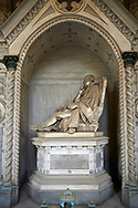 Picture and image of the stone sculpture of a man sitting in a chair on a plinth in Borgeois Realistic style. The Bomba family Tomb sculpted by G B Cevasco. Section D no 33, the monumental tombs of the Staglieno Monumental Cemetery, Genoa, Italy .<br /> <br /> Visit our ITALY PHOTO COLLECTION for more   photos of Italy to download or buy as prints https://funkystock.photoshelter.com/gallery-collection/2b-Pictures-Images-of-Italy-Photos-of-Italian-Historic-Landmark-Sites/C0000qxA2zGFjd_k<br /> If you prefer to buy from our ALAMY PHOTO LIBRARY  Collection visit : https://www.alamy.com/portfolio/paul-williams-funkystock/camposanto-di-staglieno-cemetery-genoa.html