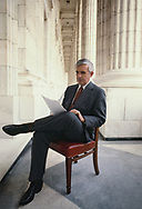 Washington, DC 1979/04/02 Senator Paul Laxalt reading on the balacony of his office at the US Capitol.<br />Photo by Dennis Brack