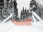 Reindeer fences at the edge of the forest in Rauhala village, Finland on 14th February 2018. Rauhala village is situated on the edge of Pallas-Yllastunturi National Park, the third largest national park in Finland and is located in the Lapland region. The area has been inhabited since the Stone Age and is home to the Sami people, the National Park is an important pasture for reindeer
