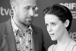 September 24, 2018 - San Sebastian, Spain - (EDITOR'S NOTE: Image was converted to black and white) Ryan Gosling and Claire Foy attend the 'First Man' Red Carpet during the 66th San Sebastian International Film Festival on September 24, 2018 in San Sebastian, Spain. (Credit Image: © Manuel Romano/NurPhoto/ZUMA Press)
