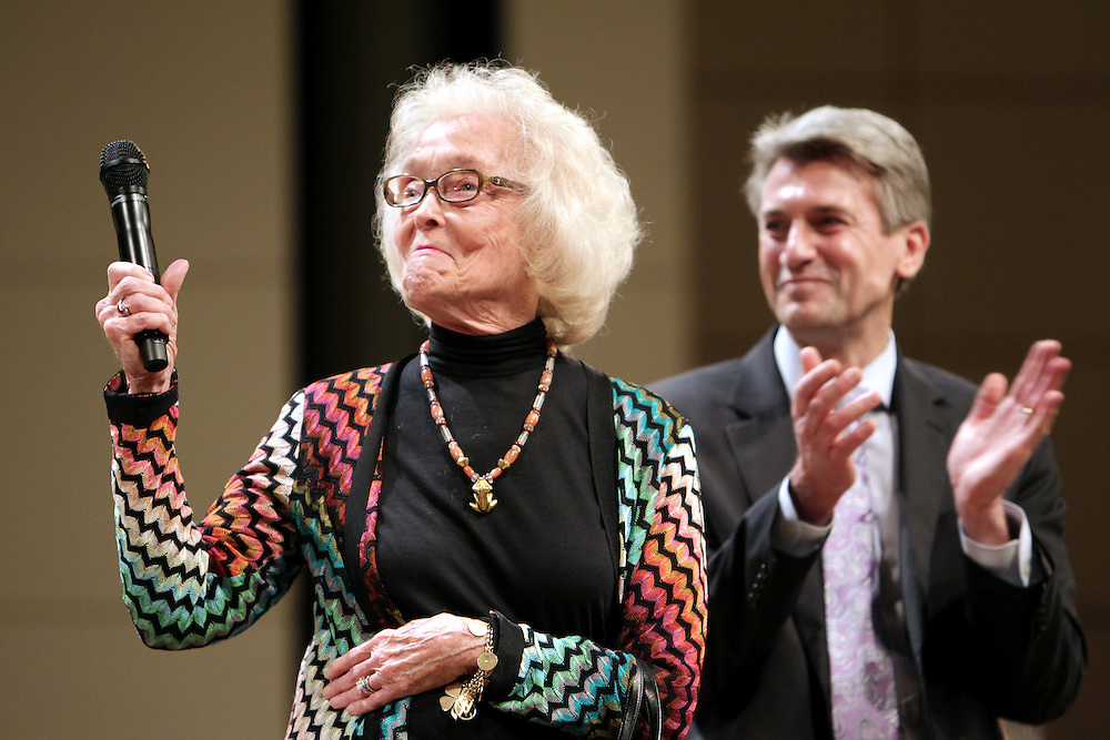 Judy Dayton, left, and Minneapolis Mayor R.T. Ryabak introduce the Minnesota Orchestra performing with Osmo Vänskä at the Minneapolis Convention Center February 1, 2013.