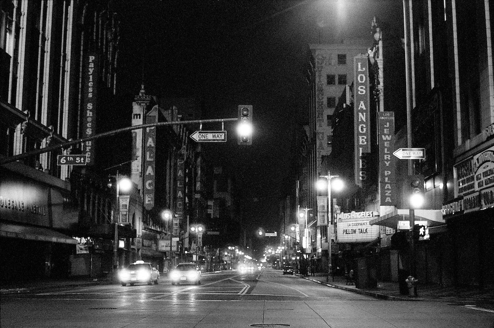 Broadway at Night in Downtown Los Angeles, CA. (USA)<br /> Camera: Leica R8 / Lens: 50mm f/1.4 Summilux-R / Film: Ilford Delta 3200