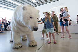 July 26, 2018 - Margate, Kent, UK - Paula the Polar Bear appears at Turner Contemporary gallery today and during the summer to highlight climate change and how humans co-exist with animals. Paula the Polar Bear, a life-size puppet, will be roaming around the gallery and specific points in and around Margate during July and August. (Credit Image: © Manu Palomeque/London News Pictures via ZUMA Wire)