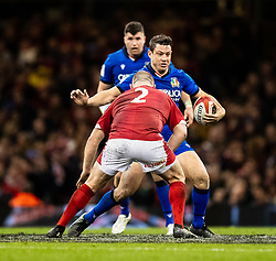 Luca Morisi of Italy under pressure from Ken Owens of Wales<br /> <br /> Photographer Simon King/Replay Images<br /> <br /> Six Nations Round 1 - Wales v Italy - Saturday 1st February 2020 - Principality Stadium - Cardiff<br /> <br /> World Copyright © Replay Images . All rights reserved. info@replayimages.co.uk - http://replayimages.co.uk