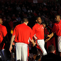 Junior Etou #10 of the Rutgers Scarlet Knights takes the court during introductions before Rutgers men's basketball vs Temple Owls in American Athletic Conference play on Jan. 1, 2014 at Rutgers Louis Brown Athletic Center in Piscataway, New Jersey.