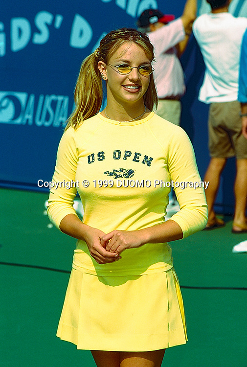 Teenage Britney Spears performs during Arthur Ashe Kid's Day at the 1999 US Open Tennis