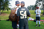 January 28 2016: Minnesota Vikings Teddy Bridgewater takes a photo of Jameis Winston and Davonte David after the Pro Bowl practice at Turtle Bay Resort on North Shore Oahu, HI. (Photo by Aric Becker/Icon Sportswire)