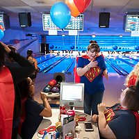 Dolores Gonzales, a nurse at RMCH College Clinic celebrates with her team E-Bowla after her turn Saturday April 27, at the 2019 Bowl for Kids' Sake fundraiser at Gal-A-Bowl in Gallup.