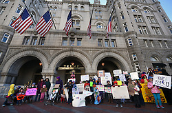 """December 10, 2016 - Washington, DC, USA - Children's Rally for Kindness takes place at Trump International Hotel in Washington DC on December 10, 2016 organized by the Takoma Parents Action Coalition.  According to their FaceBook page, it was a call to President-elect Donald Trump: ''to remember these lessons as he prepares to take office and implement policies that will affect the lives of children and families across our diverse nation.''.''All over the world, across cultures and countries, children learn the same basic lessons: .Ã'be kind,Ã"""" .Ã'tell the truth,Ã"""" .Ã'be fair,Ã"""" .Ã'respect everyone,Ã"""" .Ã'treat others the way you want to be treated,Ã"""" .Ã'donÃ•t touch others if they donÃ•t want to be touched. (Credit Image: © Carol Guzy via ZUMA Wire)"""
