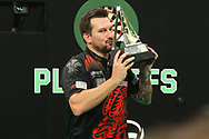 Jonny Clayton wins the 2021Unibet Premier League during the PDC Unibet Premier League darts at Marshall Arena, Milton Keynes, United Kingdom on 28 May 2021.