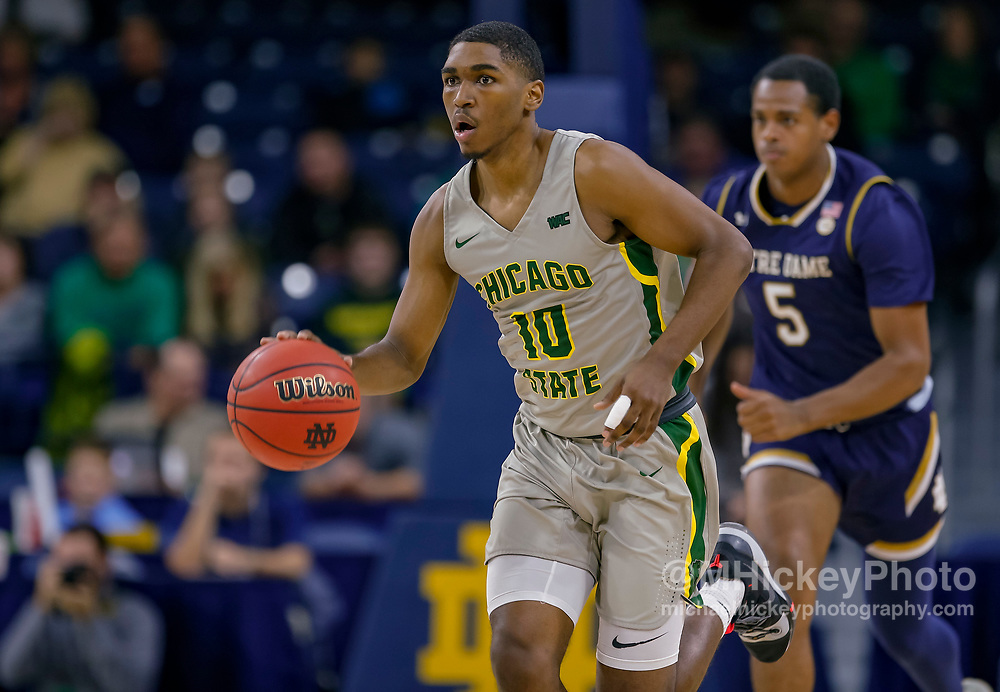 SOUTH BEND, IN - NOVEMBER 08: Anthony Harris #10 of the Chicago State Cougars is seen during the game against the Notre Dame Fighting Irish at Purcell Pavilion on November 8, 2018 in South Bend, Indiana. (Photo by Michael Hickey/Getty Images) *** Local Caption *** Anthony Harris