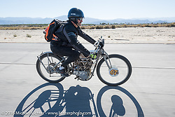 Harley-Davidson Museum Archive Restorer/Conservator Bill Rodencal of Wisconsin on his 1915 Harley-Davidson as he comes into Palm Desert during the Motorcycle Cannonball Race of the Century. Stage-14 ride from Lake Havasu CIty, AZ to Palm Desert, CA. USA. Saturday September 24, 2016. Photography ©2016 Michael Lichter.