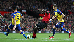 Manchester United's Romelu Lukaku scores his side's third goal of the game during the Premier League match at Old Trafford, Manchester.