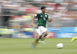 MOSCOW, June 17, 2018  Carlos Vela of Mexico breaks through with the ball during a group F match between Germany and Mexico at the 2018 FIFA World Cup in Moscow, Russia, June 17, 2018. (Credit Image: © Cao Can/Xinhua via ZUMA Wire)