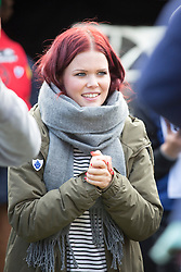 © Licensed to London News Pictures. 11/10/2015. Southwick, UK. Lindsey Russell of Blue Peter at The 2015 Conker World Championships celebrates it's 50th year with competitors from around the world competing to become this years conker king. Photo credit: Andrew McCaren/LNP