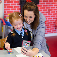 Molly Tyrrell  gets a selfie with mammy Anthea at her First day at school at Scoil Na Mainistreach Quin Dangan