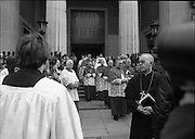 Funeral Of Frank Duff.   (N50)..1980..13.11.1980..11.13.1980..13th November 1980..The Solemn Funeral Mass for Frank Duff, founder of The Legion of Mary,was concelebrated with his Eminence,Cardinal Tómas O'Fiaich,Archbishop of Armagh and Primate of All Ireland as principal celebrant, at St Andrew's Church, Westland Row,Dublin. The funeral took place after the mass to Glasnevin Cemetery.