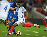 Marcus Rashford of England in action.FIFA World cup qualifying match, European group F, England v Slovakia at Wembley Stadium in London on Monday 4th September 2017.<br /> pic by Andrew Orchard, Andrew Orchard sports photography.