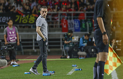 September 7, 2018 - Goyang, Gyeonggi, South Korea - September 7, 2018-Goyang, South Korea-Paulo Bento of South Korea Coach action on the fieldside during an Football A Match South Korea vs Costa Rica at Goyang Sports Complex in South Korea. Match Won South KOrea, Score by 2-0. (Credit Image: © Ryu Seung-Il/ZUMA Wire)