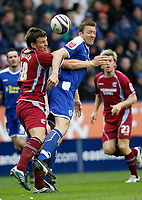 Photo: Steve Bond/Richard Lane Photography. <br />Leicester City v Scunthorpe United. Coca Cola Championship. 29/03/2008. Steve Howard (R) and Martin Butler (L) go for an aeriel ball