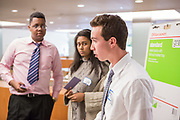 Purchase, NY – 31 October 2014. Ross Van Doron, from White Plains High School, talking to team members. The Business Skills Olympics was founded by the African American Men of Westchester, is sponsored and facilitated by Morgan Stanley, and is open to high school teams in Westchester County.