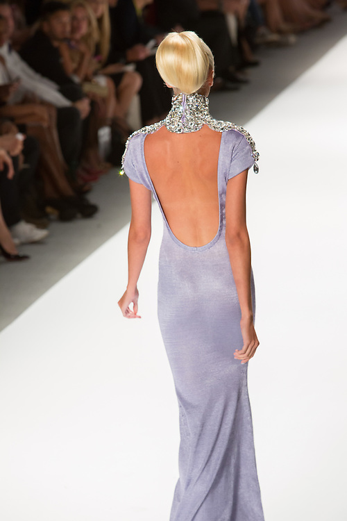 Backless lilac gown with jewelled choker and epaulets. By Zang Toi, shown at his Spring 20132 Fashion Week show in New York.