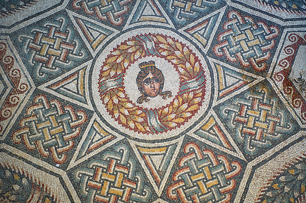 Close up detail picture of the Roman mosaics of the Cubilcle with Erotic Scene, a geometric mosiac with an erotic scene at its center, room no 48 at the Villa Romana del Casale, first quarter of the 4th century AD. Sicily, Italy. A UNESCO World Heritage Site. .<br /> <br /> If you prefer to buy from our ALAMY PHOTO LIBRARY  Collection visit : https://www.alamy.com/portfolio/paul-williams-funkystock/villaromanadelcasale.html<br /> Visit our ROMAN MOSAICS  PHOTO COLLECTIONS for more photos to buy as buy as wall art prints https://funkystock.photoshelter.com/gallery/Roman-Mosaics-Roman-Mosaic-Pictures-Photos-and-Images-Fotos/G00008dLtP71H_yc/C0000q_tZnliJD08