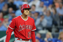 April 12, 2018 - Kansas City, MO, U.S. - KANSAS Kansas City, MO - APRIL 12: Los Angeles Angels designated hitter Shohei Ohtani (17) after striking out in the second inning of an MLB game between the Los Angeles Angels of Anaheim and Kansas City Royals on April 12, 2018 at Kauffman Stadium in Kansas City, MO.  (Photo by Scott Winters/Icon Sportswire) (Credit Image: © Scott Winters/Icon SMI via ZUMA Press)