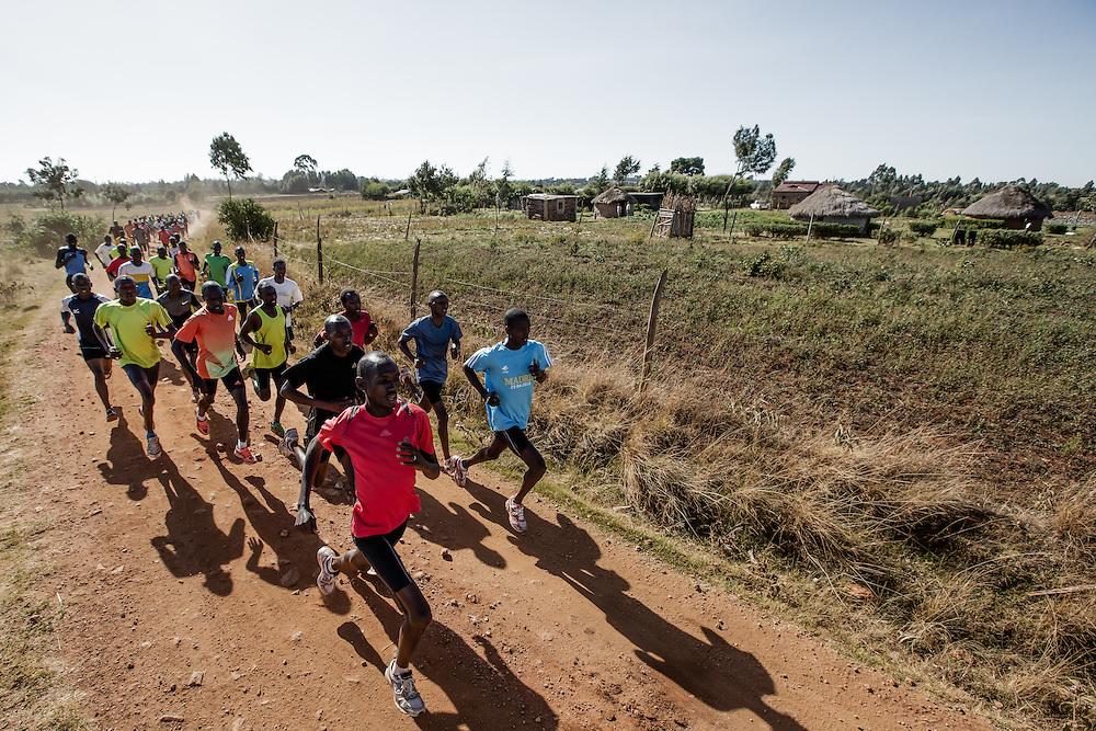 Runners training in Iten, Kenya.