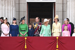The Duchess of Cambridge, Duchess of Cornwall, Prince Edward, The Countess of Wessex, The Duchess of Cornwall, Peter and Autumn Phillips and their children Savannah and Isla attending Trooping The Colour, Buckingham Palace, London. Picture credit should read: Doug Peters/EMPICS