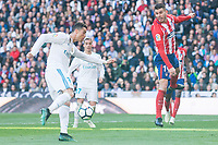 Real Madrid Cristiano Ronaldo and Atletico de Madrid Lucas Hernandez during La Liga match between Real Madrid and Atletico de Madrid at Santiago Bernabeu Stadium in Madrid, Spain. April 08, 2018. (ALTERPHOTOS/Borja B.Hojas)
