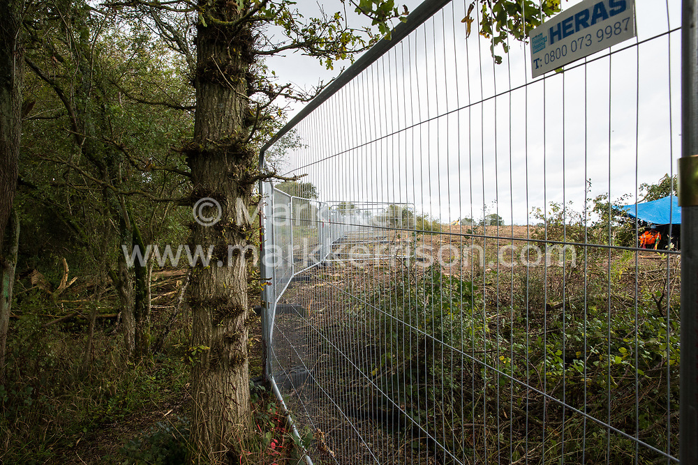 An area of Calvert Jubilee nature reserve cleared of trees and vegetation by contractors working on behalf of HS2 Ltd is pictured on 6 October 2020 in Calvert, United Kingdom. HS2 Ltd seized possession of the eastern side of the nature reserve, which is maintained by the Berks, Bucks and Oxon Wildlife Trust (BBOWT) and is home to bittern, breeding tern and some of the UK's rarest butterflies, on 22nd September in order to carry out clearance works in connection with the HS2 high-speed rail link.