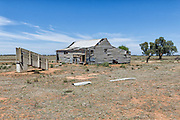 Dilapidated and rundown old outback shearing wool shed near Narrandera, New South Wales, Australia <br />