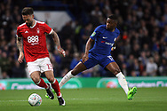 Danny Fox of Nottingham Forest (L) gets the ball ahead of  Charly Musonda of Chelsea (R). Carabao Cup 3rd round match, Chelsea v Nottingham Forest at Stamford Bridge in London on Wednesday 20th September 2017.<br /> pic by Steffan Bowen, Andrew Orchard sports photography.