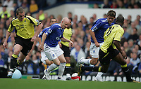 Photo: Andi Thompson.<br />Everton v Manchester City. The Barclays Premiership. 30/09/2006.<br />Everton's Andrew Johnson takes on the City Defence