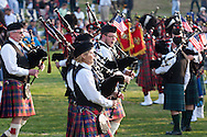 West Point, New York - Pipe and drum bands perform at the 32nd annual West Point Military Tattoo at Trophy Point at the United States Military Academy on April 13, 2014.