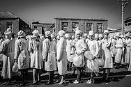 Nurses line up to march for independence celebrations. Tskhinvali. 2005