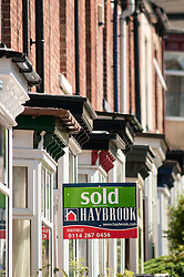 Sold sign on house, Sheffield