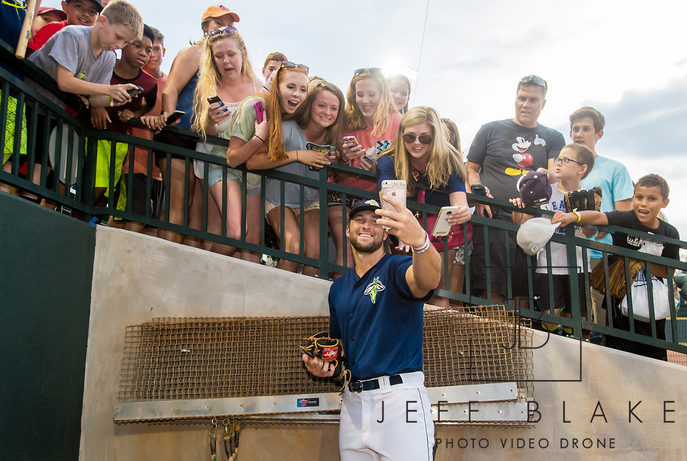 Tim Tebow takes a selfie with fans after his last game with the Columbia Fireflies. <br /> Photo by Jeff Blake for the Columbia Fireflies