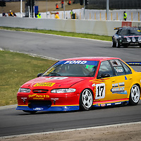Nathan Vince's Black Track Haulage EL Falcon racing at Barbagallo Raceway, Wanneroo in 2006