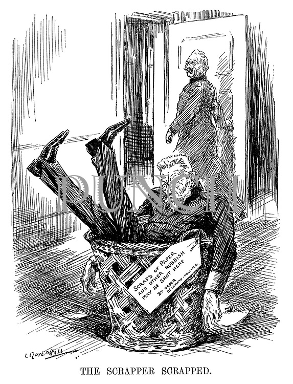 The Scrapper Scrapped. (German Chancellor Theobald von Bethmann-Hollweg has been thrown in the rubbish bin by Wilhelm II during WW1 with the notice Scraps of Paper And Other Rubbish May Be Shot Here - By Order - Bethmann-Hollweg)