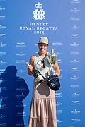 """Henley on Thames, United Kingdom, 8th July 2018, Sunday,  """"Henley Royal Regatta"""",  Princess Royal Challenge Cup, winner Jeannine GMELIN SUI W1X, Ruderclub Uster, with Trophy, View, Henley Reach, River Thames, Thames Valley, England, UK."""