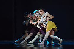 "© Licensed to London News Pictures. 18/11/2014. London, England. Adam Blyde, Hannah Rudd and Dane Hurst at the front performing Terra Incognita choreographed by Shobana Jeyasingh. British dance company ""Rambert"" perform their new show ""Triptych"" at Sadler's Wells Theatre from 18 to 22 November 2014. Choreographed by Shobana Jeyasingh with Luke Ahmet, Lucy Balfour, Adam Blyde, Carolyn Bolton, Simone Damberg Würtz, Dane Hurt, Vanessa King, Adam Park, Hannah Rudd and Pierre Tappon dancing. Photo credit: Bettina Strenske/LNP"