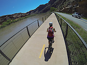 SHOT 5/9/16 11:28:54 AM - GoPro footage and stills of the Mag 7 trail, Fisher Towers and the bike trail along Highway 128 in Moab. Moab is a city in Grand County, in eastern Utah, in the western United States. Moab attracts a large number of tourists every year, mostly visitors to the nearby Arches and Canyonlands National Parks. The town is a popular base for mountain bikers and motorized offload enthusiasts who ride the extensive network of trails in the area. (Photo by Marc Piscotty / © 2016)