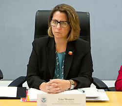 Lisa Monaco, U.S. Homeland Security Advisor to President Obama listens after receiving a briefing on Hurricane Matthew at the Federal Emergency Management Agency(FEMA) in Washington DC, October 5, 2016.