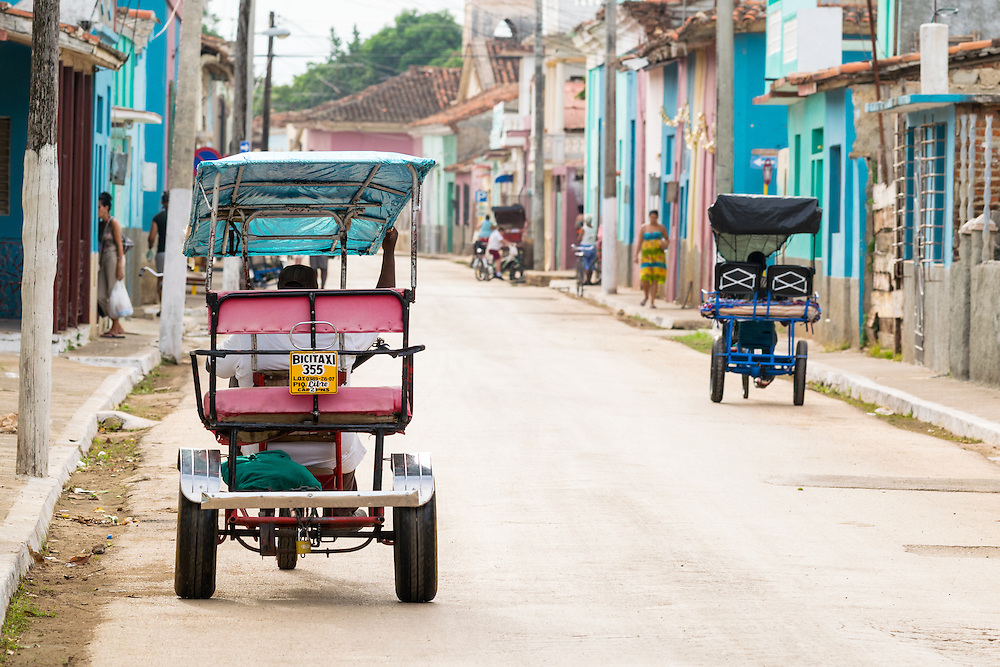 13 October 2015, Remedios, Cuba: Bici taxi (bike taxi) on the streets of the colonial town.