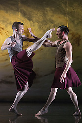 """© Licensed to London News Pictures. 18/11/2014. London, England. Adam Blyde and Luke Ahmet performing Terra Incognita choreographed by Shobana Jeyasingh. British dance company """"Rambert"""" perform their new show """"Triptych"""" at Sadler's Wells Theatre from 18 to 22 November 2014. Choreographed by Shobana Jeyasingh with Luke Ahmet, Lucy Balfour, Adam Blyde, Carolyn Bolton, Simone Damberg Würtz, Dane Hurt, Vanessa King, Adam Park, Hannah Rudd and Pierre Tappon dancing. Photo credit: Bettina Strenske/LNP"""