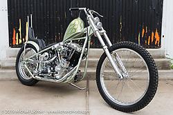 Jim Harper's Jim's Choppers custom Harley-Davidson Shovelhead on Sunday after the Handbuilt Motorcycle Show. Austin, TX. April 12, 2015.  Photography ©2015 Michael Lichter.