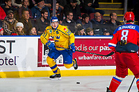 KELOWNA, BC - DECEMBER 18: Pontus Holmberg #29 of Team Sweden skates with the puck against the Team Russia at Prospera Place on December 18, 2018 in Kelowna, Canada. (Photo by Marissa Baecker/Getty Images)***Local Caption***